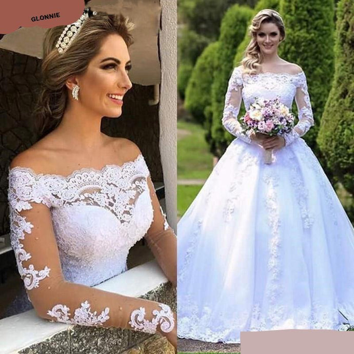 Glonnie Vintage Illusion Lace Ball Gown Wedding Off the Shoulder Long Sleeves Bridal Dresses - ELEGANT FASHION STYLES