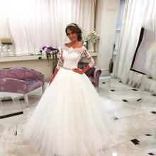 Load image into Gallery viewer, Glonnie Lace Ball Gown Wedding Dresses with Crystal Rhinestones Sash b009 - elegantfashionstyle.com