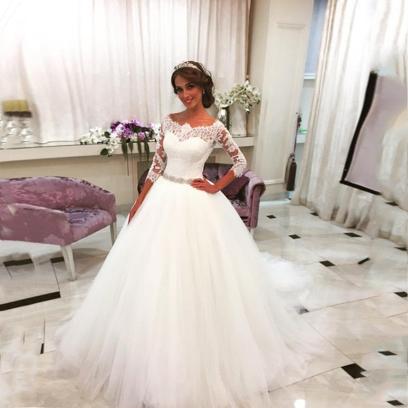Glonnie Lace Ball Gown Wedding Dresses with Crystal Rhinestones Sash b009 - elegantfashionstyle.com