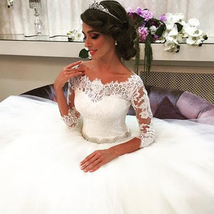 GLONNIE Lace Ball Gown Wedding Dresses with Crystal Sash B009