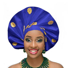 Load image into Gallery viewer, Gailis designs ready to wear turban gele head tie fan auto gele african head wear - blue navy