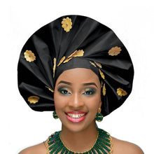 Load image into Gallery viewer, Gailis designs auto gele head tie fan ready to wear african head wear - black