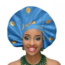 Load image into Gallery viewer, Gailis designs Royal blue auto gele head tie fan ready to wear african head wear - sea blue