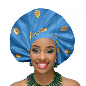 Gailis designs Royal blue auto gele head tie fan ready to wear african head wear - sea blue