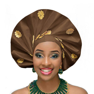 Gailis designs auto gele head tie fan ready to wear african head wear - brown