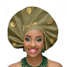 Load image into Gallery viewer, Gailis Ready To Wear Headtie African headwear Ready Made Aso Oke Gele - olive green