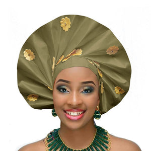 Gailis Ready To Wear Headtie African headwear Ready Made Aso Oke Gele - olive green