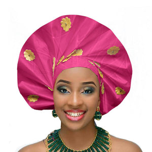 Gailis Ready To Wear Headtie African headwear Ready Made Aso Oke Gele - fushia