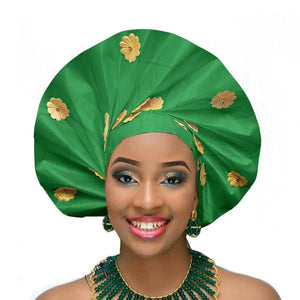 Gailis designs auto gele head tie fan ready to wear african head wear - green