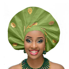 Load image into Gallery viewer, Gailis designs auto gele head tie fan ready to wear african head wear - lemon green