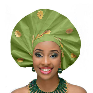 Gailis designs auto gele head tie fan ready to wear african head wear - lemon green