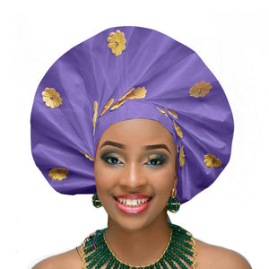 Gailis designs auto gele head tie fan ready to wear african head wear - light purple