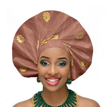 Load image into Gallery viewer, Gailis designs auto gele head tie fan ready to wear african head wear - light brown