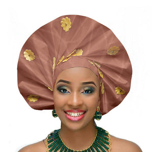 Gailis designs auto gele head tie fan ready to wear african head wear - light brown