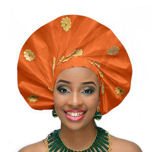 Gailis Ready To Wear Headtie African headwear Ready Made Aso Oke Gele - orange