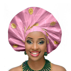 Gailis Ready To Wear Headtie African headwear Ready Made Aso Oke Gele - pink