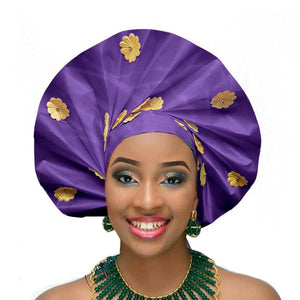 Gailis Ready To Wear Headtie African headwear Ready Made Aso Oke Gele - purple