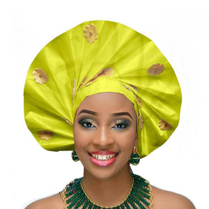 Gailis Ready To Wear Headtie African headwear Ready Made Aso Oke Gele p neon green