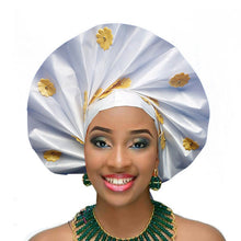 Load image into Gallery viewer, Gailis Ready To Wear Headtie African headwear Ready Made Aso Oke Gele - white