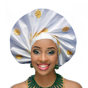 Gailis Ready To Wear Headtie African headwear Ready Made Aso Oke Gele - white