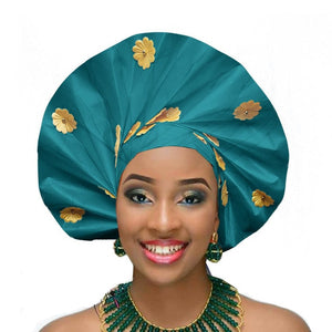 Gailis Ready To Wear Headtie African headwear Ready Made Aso Oke Gele - teal