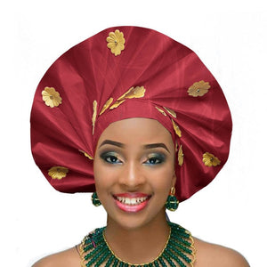 Gailis Ready To Wear Headtie African headwear Ready Made Aso Oke Gele - wine