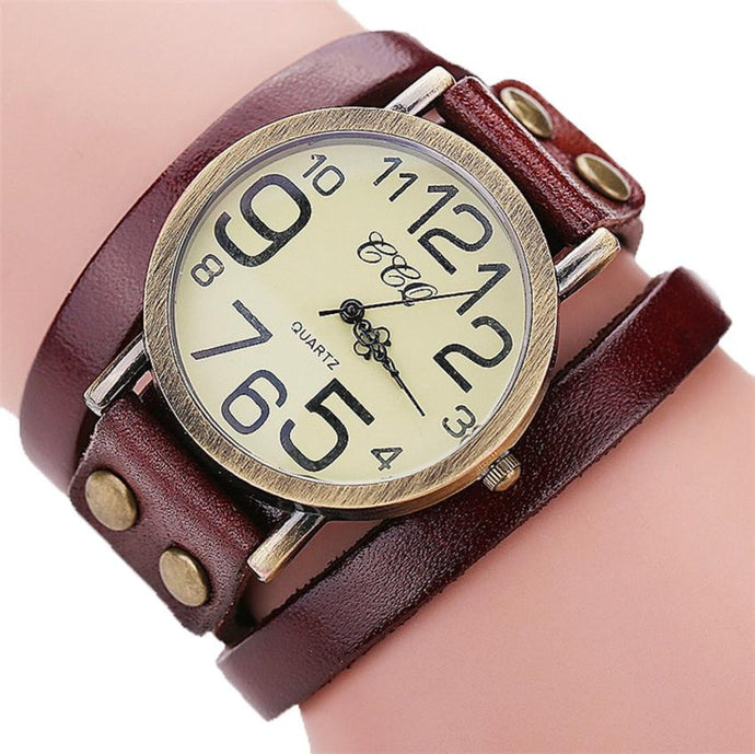 Leather Bracelet Wrap Around Women Dress Wrist watch Quartz