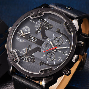 Benny Mens Top Brand Luxury Leather Band Quartz Wrist Watch With Date Dual Japan Quartz