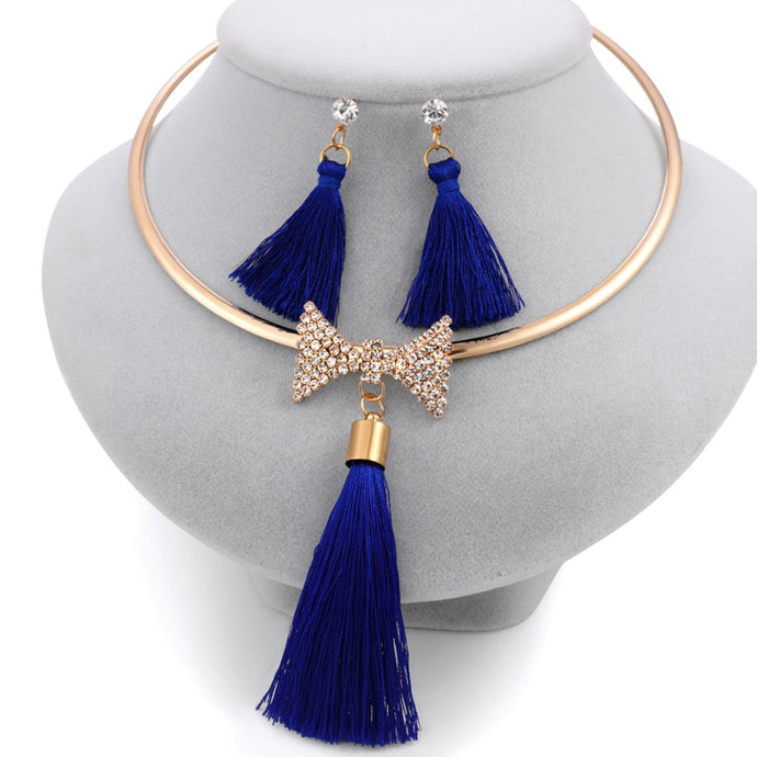 Levina Elegant Bridal Tassel Jewelry Sets Rose Gold Choker Necklace With Bow Crystal Pendant-jewelry set-Elegant Fashion Style