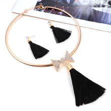 Load image into Gallery viewer, Levina Elegant Bridal Tassel Jewelry Sets Rose Gold Choker Necklace With Bow Crystal Pendant-jewelry set-Elegant Fashion Style