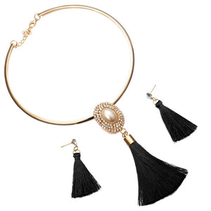 Levina Bridal Jewelry Sets Crystal Tassel Necklace Pendant Jewelry Sets-jewelry set-Elegant Fashion Style