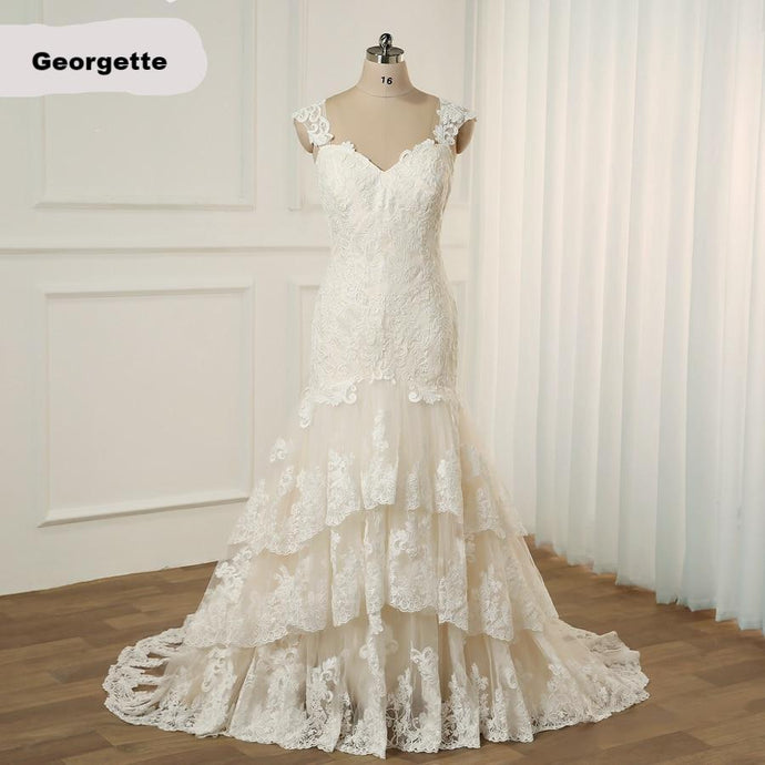 Georgette A Line Wedding Dress Cap Sleeves Mermaid Trumpet Bridal Gowns