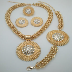 Judy Gold jewelry sets African Costume Wedding African Crystal Gold Necklace with Earrings