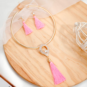 Levina Crystal Charming Rose Gold Choker Necklace Tassel Earrings Set-jewelry set-Elegant Fashion Style