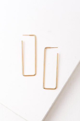 Trisha Gold Rectangular Hoop Earrings
