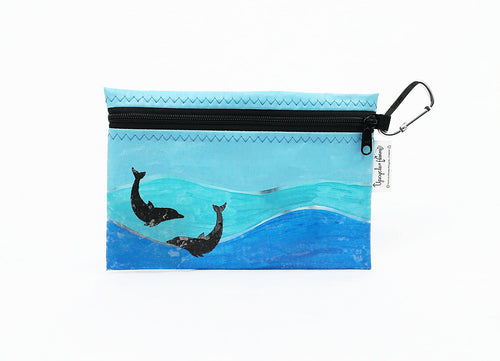 Dolphin Painted Fused Hawaii Plastic Zipper Pouch