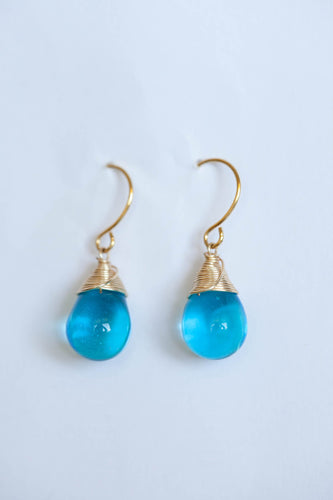 The Sea: Hawaiian made Blue Glass Earrings