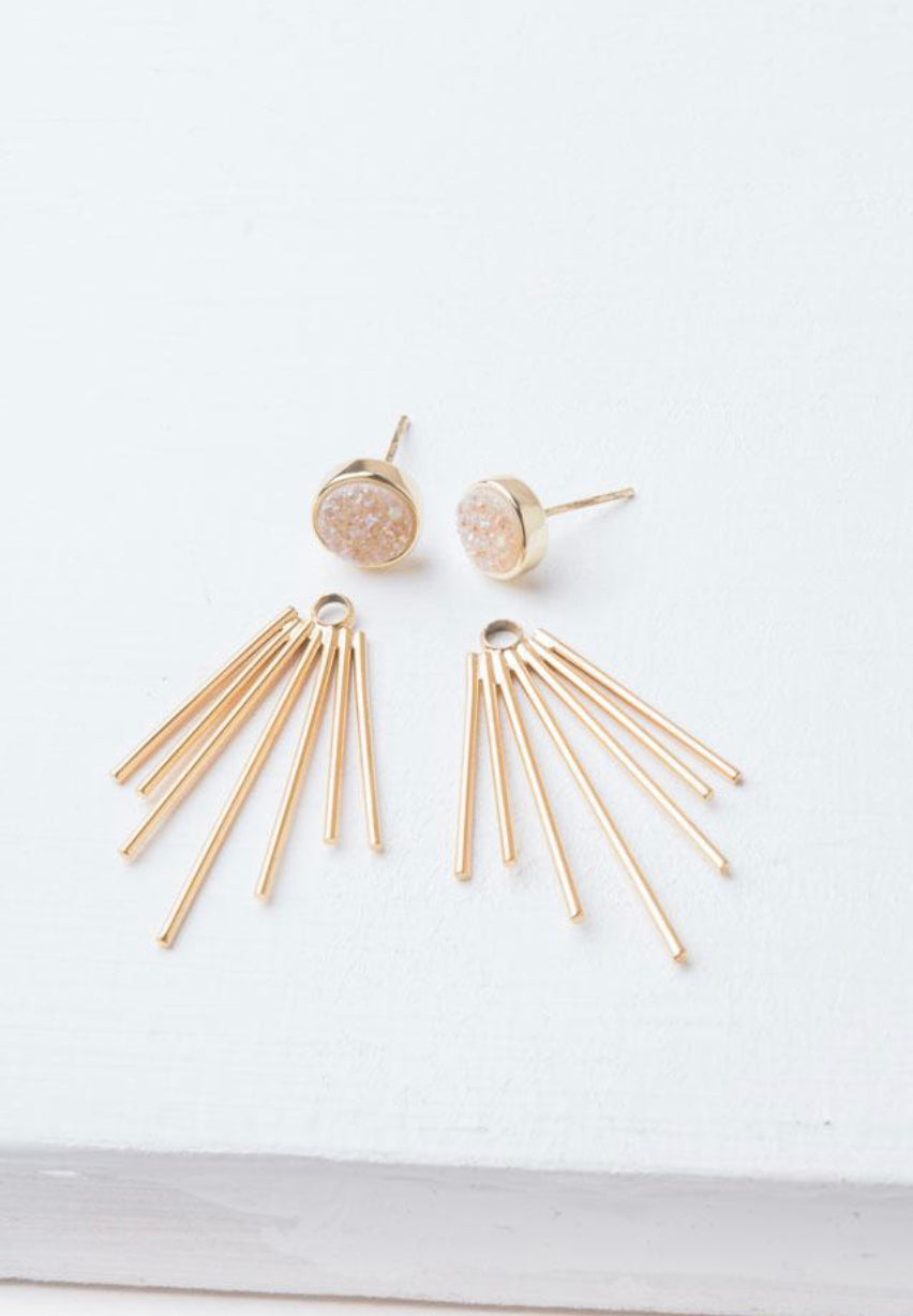 Party Caroline White Druzy Stud and Fringe Earrings