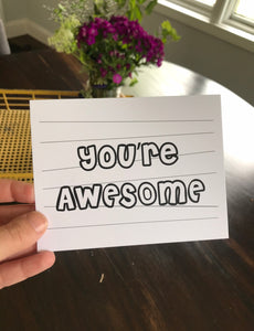 """You're Awesome"" Kiddo Inspired Postcard"