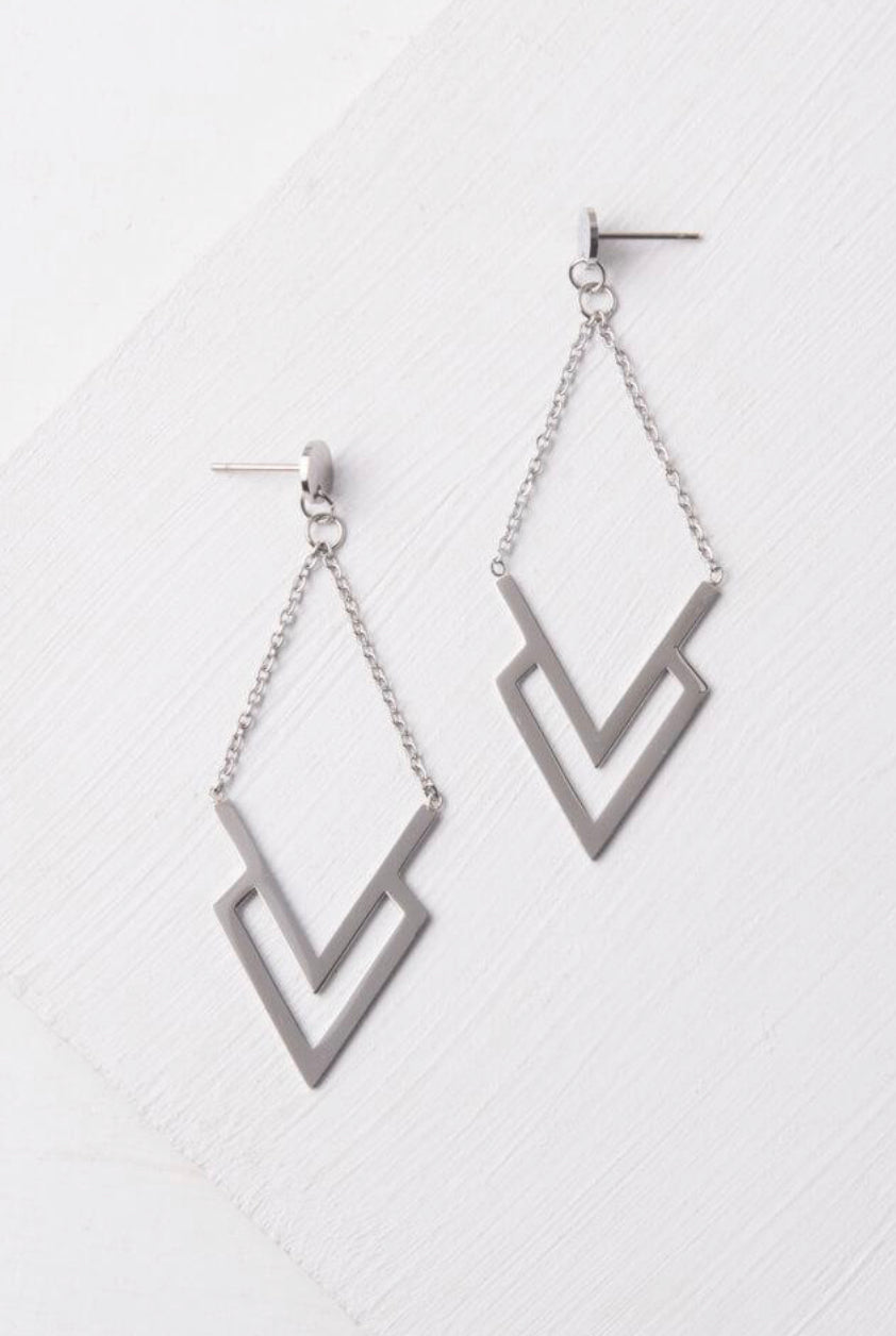Dominique Silver Dangle Earrings