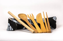 Load image into Gallery viewer, Black Fish Bamboo Utensils