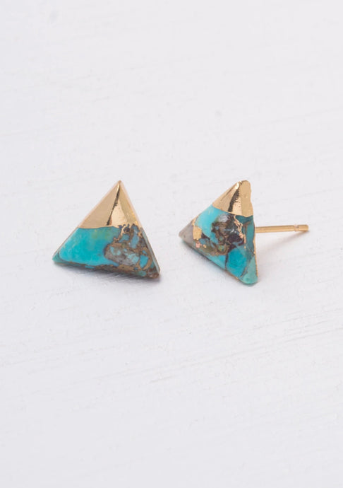 Ezra Ocean Turquoise Triangle Stud Earrings