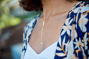 Marina Hawaiian Wahine Warrior Gold Drop Necklace
