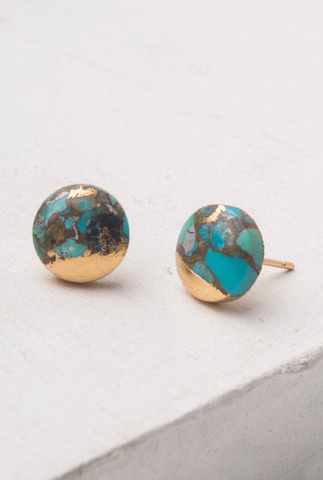 Ezra Ocean Turquoise Stud Earrings
