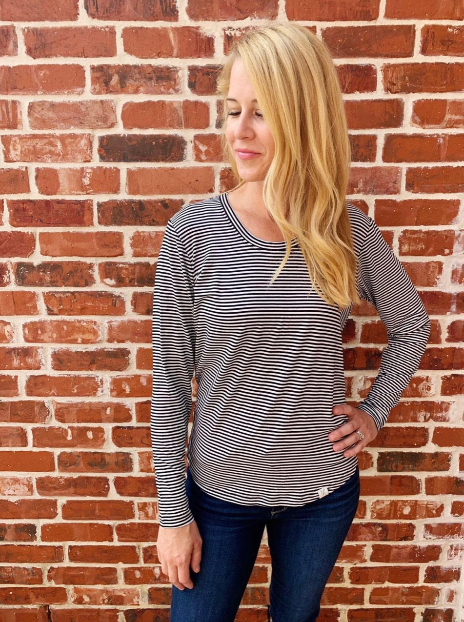 Striped Scoop Neck Long Sleeves