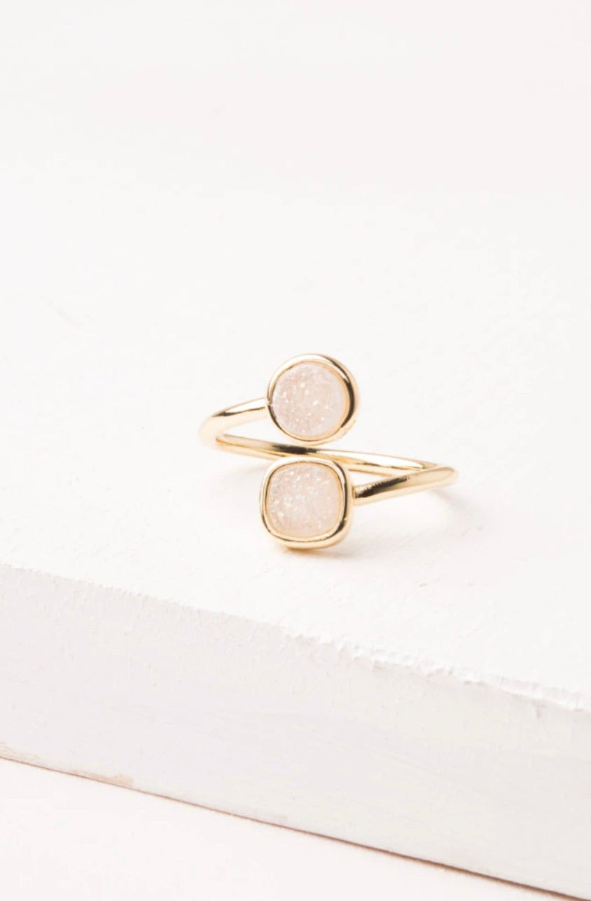 Deirdre White Druzy and Gold Wrap Ring
