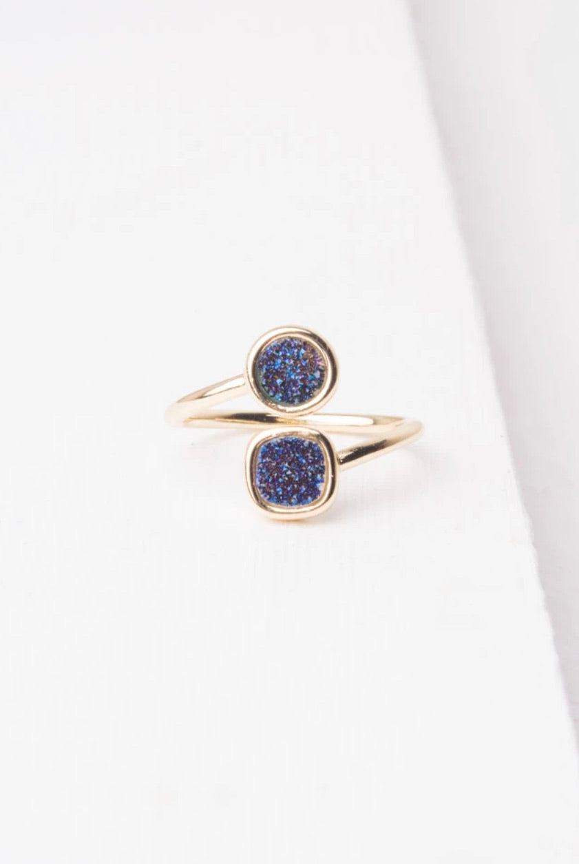 Deirdre Navy Druzy and Gold Wrap Ring