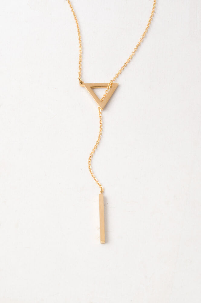 Lilly Gold Triangle Pendant Drop Necklace
