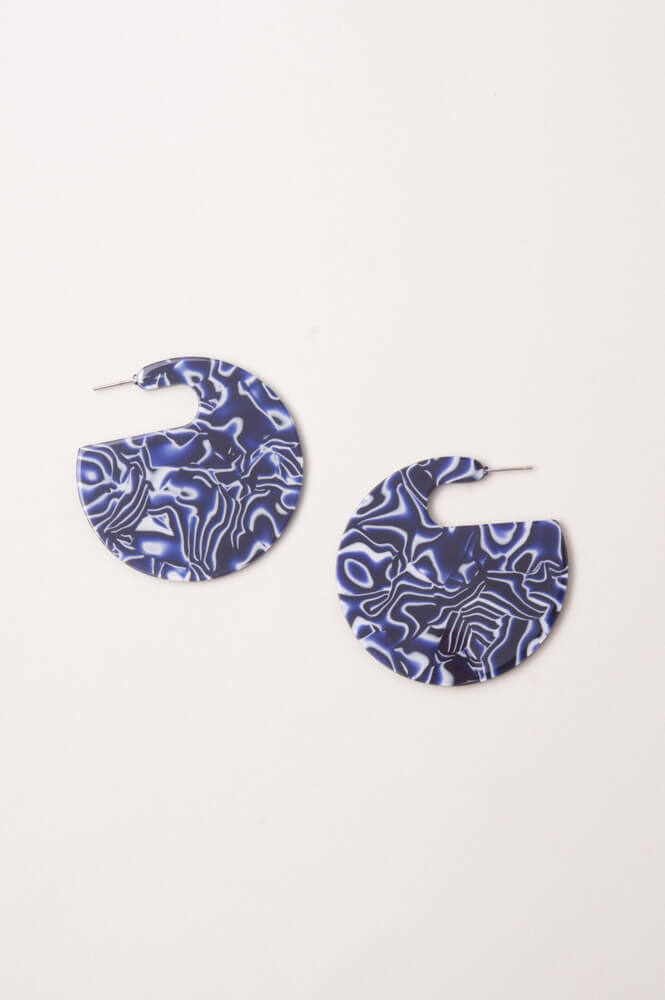 Winnie OCEAN wave Semi Circle Resin Earrings