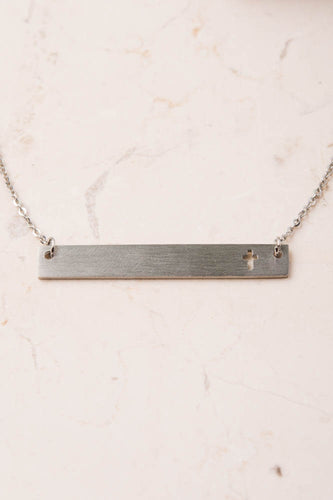 Layla cross bar necklace silver